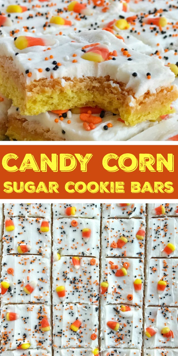Candy Corn Sugar Cookie Bars | Sheet Pan | Halloween Food | Halloween Treats | Sugar Cookie Bars | Candy corn sugar cookie bars are the best way to celebrate Halloween. Sugar cookie bars made in a sheet pan so there is plenty for everyone. Layered in yellow & orange sugar cookies and then topped with a white cream cheese icing and decorated with candy corn and Halloween sprinkles! #halloweenfood #halloweenrecipes #sugarcookiebars #dessert #recipeoftheday