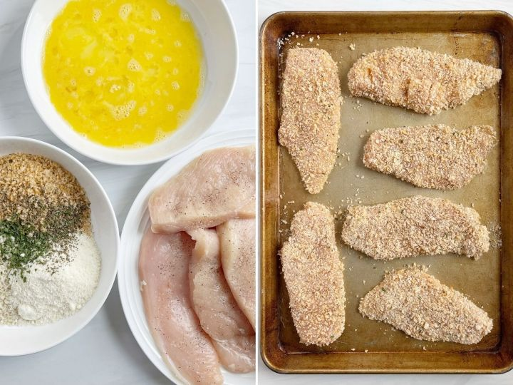How to make oven baked parmesan chicken with step by step photos.