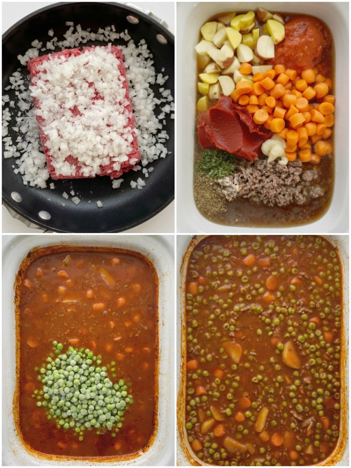 Ground Beef Stew is made in the slow cooker and it will make your house smell amazing! Kid friendly ground beef, potatoes, carrots in a richly seasoned tomato beef broth base. Serve with rolls or bread to soak up all the goodness.