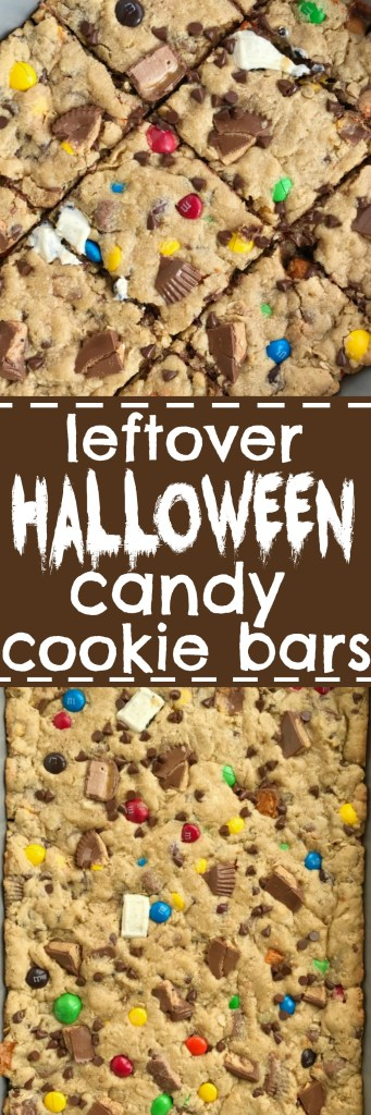 Put all that Halloween candy to delicious use and make these leftover Halloween candy cookie bars. Soft, thick cookie bars loaded with oats, peanut butter, and lots of chocolate!