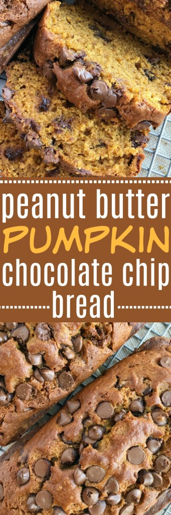 Peanut butter and pumpkin were meant to be together! Classic pumpkin bread with a peanut butter twist and dotted with chocolate chips. Try this peanut butter pumpkin chocolate chip for a fun Fall treat and a delicious twist to a classic pumpkin bread recipe | www.togetherasfamily.com #pumpkin #peanutbutter #pumpkinbread