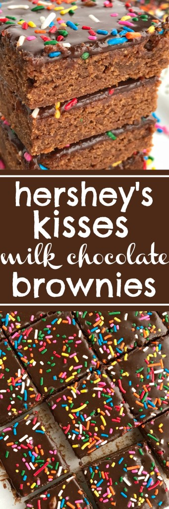 Milk chocolate homemade brownies use Hershey's Kisses for the chocolate! Homemade milk chocolate brownie base topped with a milk chocolate ganache. Rich, soft, fudgey, and sure to satisfy any chocolate craving. Change up the sprinkles for different Holidays! www.togetherasfamily.com #homemadebrownies #dessertrecipes #dessertrecipes