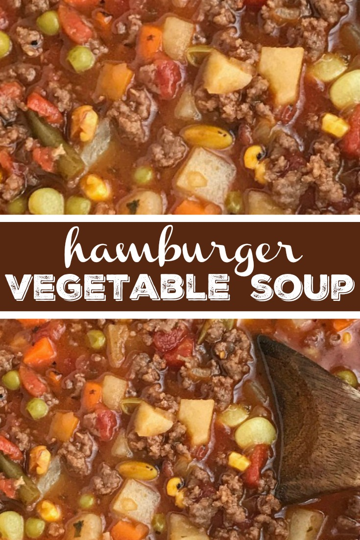 Hamburger Vegetable Soup | Tomato Soup | Hamburger Soup | Tomato hamburger vegetable soup is an easy tomato based soup recipe that is filled with ground beef, seasonings, and uses frozen vegetables for ease and convenience. Simmers on the stove top, or let it cook in the slow cooker, for the ultimate comfort food that is so delicious. #souprecipe #comfortfood #groundbeefrecipe #groundbeef #vegetables