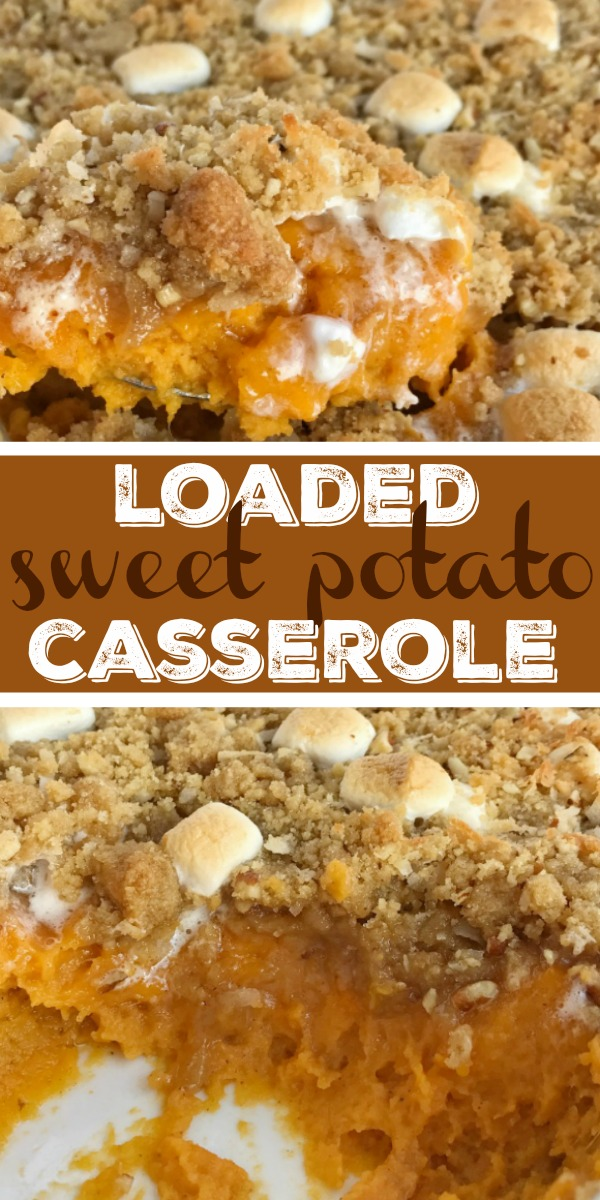 Loaded Sweet Potato Casserole | Sweet Potato Casserole | Thanksgiving Side Dish | Creamy sweet potatoes topped with a loaded & crumbly topping! Loaded sweet potato casserole has a base of sweet potato topped with a crumble of marshmallows, pecans, and coconut! Everyone's favorite classic sweet potato casserole toppings all in one dish. #casserole #thanksgivingrecipe #sidedish #sweetpotato #sweetpotatocasserole