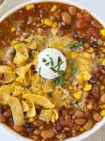 Ground turkey chili taco soup recipe.