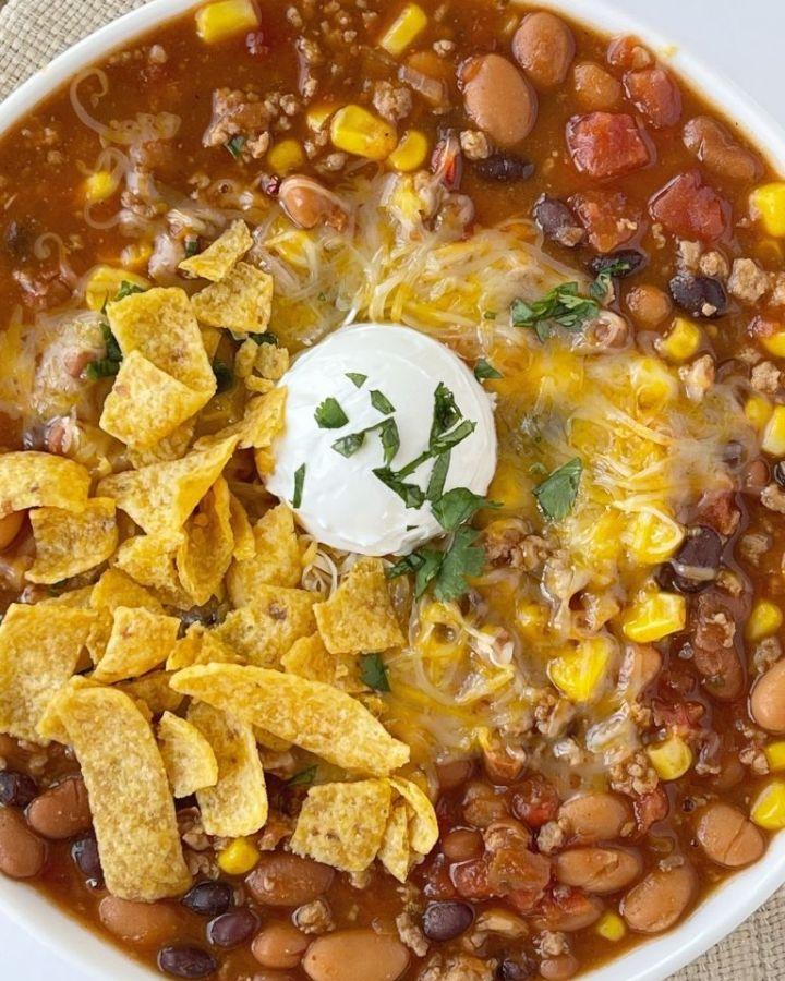 Ground turkey chili taco soup recipe.