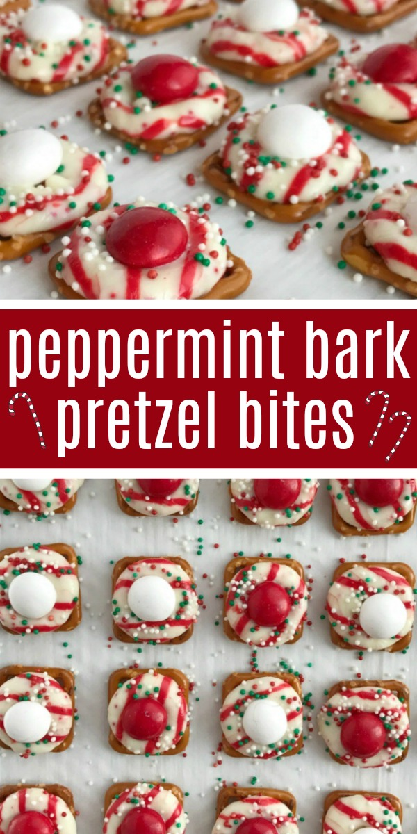 Peppermint Bark Pretzel Bites | Peppermint Bark Recipe | Christmas Recipes | Peppermint bark pretzel bites are sweet n' salty perfection. Melted candy cane crunch Hershey kiss on top of a pretzel, and then topped with a peppermint white chocolate m&m candy. Perfect for Christmas cookie plates or just a fun Holiday treat. #christmasrecipe #christmastreat #peppermintbark #easyrecipe #recipeoftheday