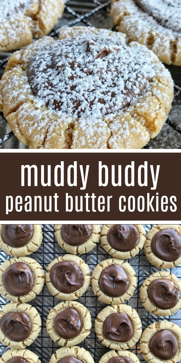 Muddy Buddy Peanut Butter Cookies | Christmas Cookies | Cookies | Peanut Butter Cookies | Let chocolate set and cool completely (about 2 hours) before dusting with powdered sugar. To speed up the chocolate cooling and hardening, place cookies in the fridge or the freezer. #cookies #easyrecipe #christmascookies #dessert #peanutbuttercookies