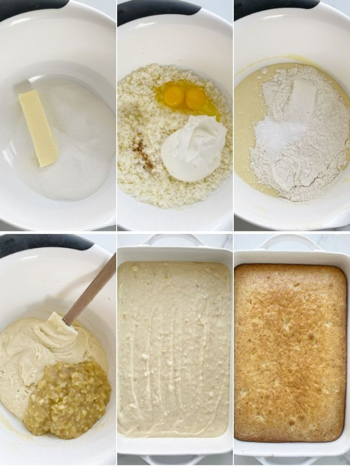 How to make banana bread cake with step-by-step picture instructions.
