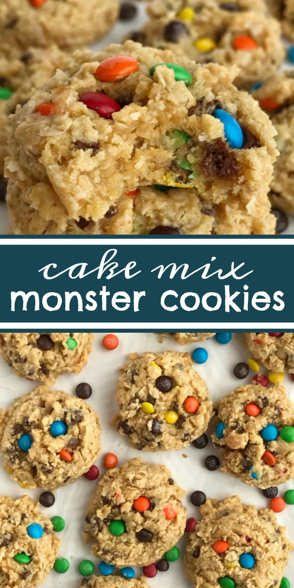 Cake Mix Monster Cookies   Cake Mix Cookies   Monster Cookies   Cookie Recipes   Cake mix cookies with a monster cookie twist. A yellow cake mix, peanut butter, oats, chocolate chips, and m&m's create a thick, soft-baked, and chewy cake mix monster cookie that's so easy to make. #cakemixcookies #cookies #dessertrecipes #recipesoftheday