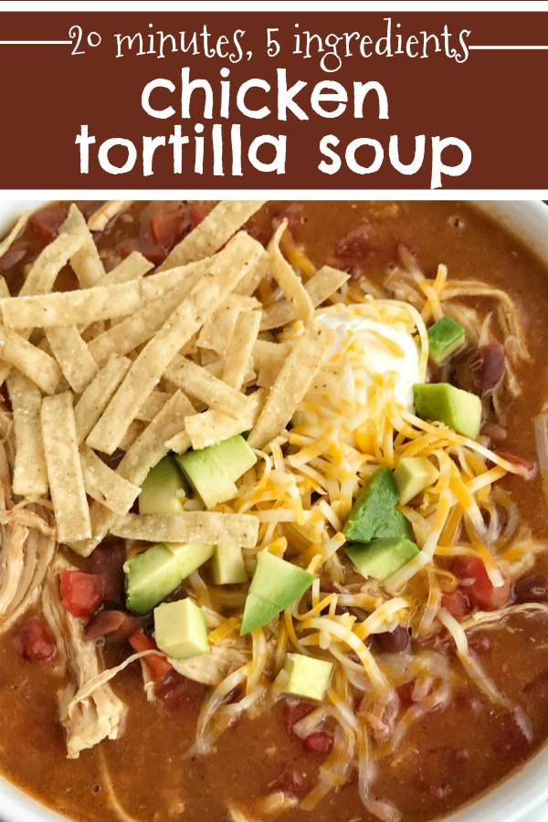 5 Ingredient Chicken Tortilla Soup | Chicken Tortilla Soup | Soup Recipes | 5 ingredients and 20 minutes is all you need for this creamy and delicious chicken tortilla soup. #souprecipe #chicken #soup #tortillasouprecipe