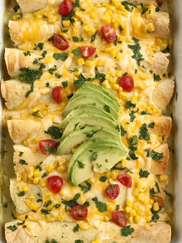 Green Chili & Corn Chicken Enchiladas