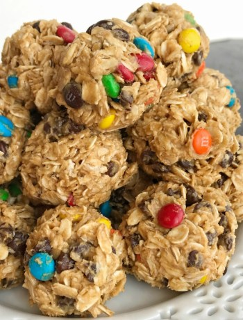 Monster Cookie Energy Balls   Energy Bites   Oatmeal Energy Balls   Healthy Snacks   Monster cookie energy balls are a great afternoon energy boost or perfect for an after school snack. Hearty oats, chocolate chips, peanut butter, honey, and m&m's make these energy balls so delicious and fun. They only take minutes to make and kids can even do it themselves!