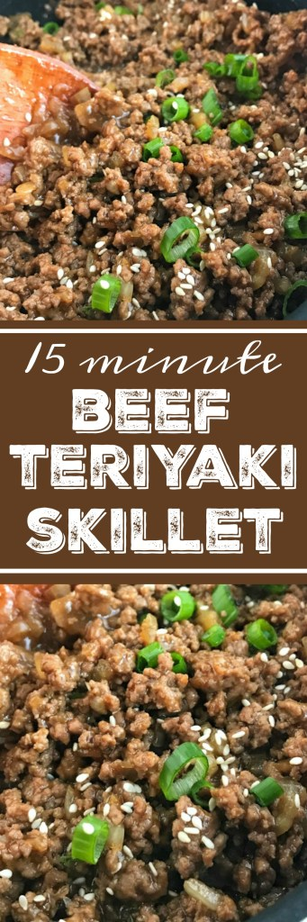 Beef Teriyaki Skillet | Ground beef and only 4 ingredients is all you need for this beef teriyaki skillet. One skillet pan and 15 minutes for an amazing dinner that the entire family will love. Serve over white or brown rice with a vegetable side! #easydinnerrecipes #dinnerrecipes #groundbeefrecipes