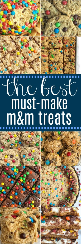 The Best Must-Make M&M Treats | The Best Must Make M&M Treats | The best M&M treat recipes that you must make! Cookies, dessert, brownies, and bar recipes! Colorful candies make any treat better and I've collected all of our favorites in one place. Be sure and buy some m&m's so you can whip up one (or several) of these colorful and tasty treats.