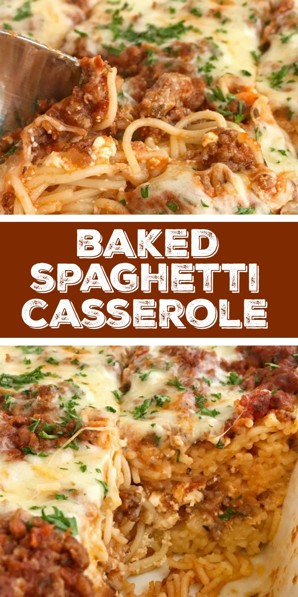 Baked Spaghetti Casserole | Baked spaghetti casserole is a family favorite dinner that's filled with pasta, cheese, and an easy spaghetti meat sauce. This gets gobbled up even by the pickiest eaters when I make it for dinner. Serve with a salad and garlic bread for a delicious and heart family dinner #easydinnerrecipes #casserole #casserolerecipes