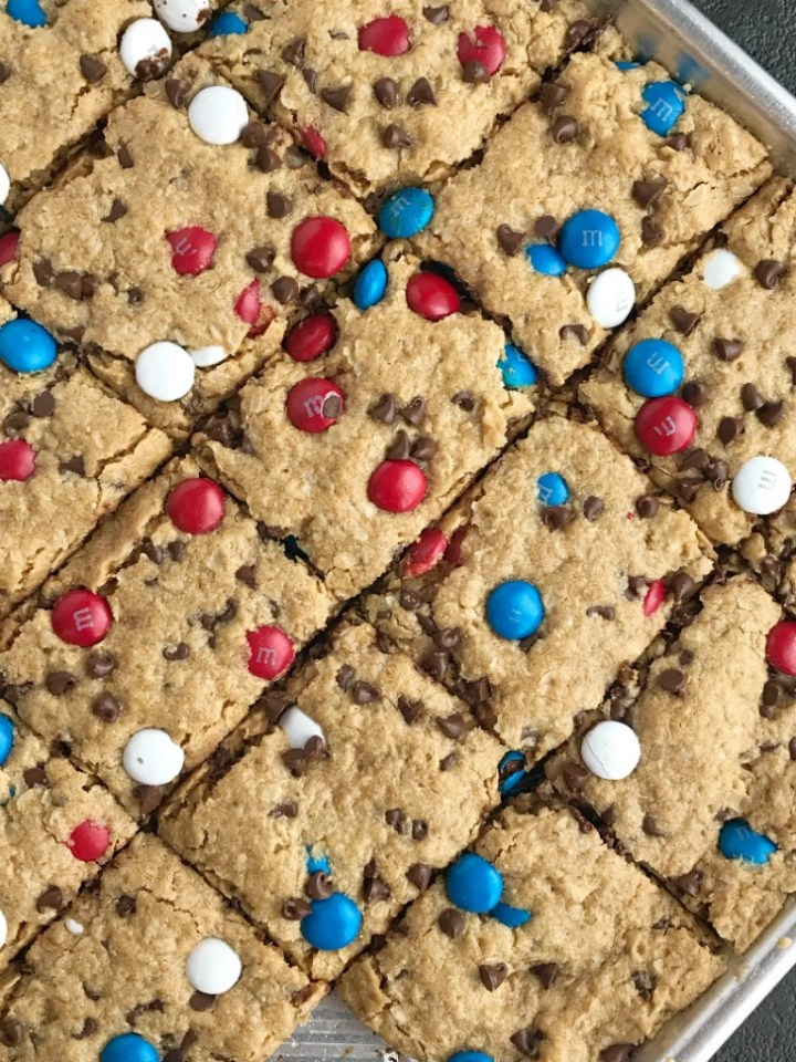 No Flour Red White & Blue Cookie Bars