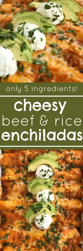 (5 Ingredients) Cheesy Beef & Rice Enchiladas | Beef Enchiladas | Dinner Recipe | Cheesy beef and rice enchiladas only need 5 ingredients! So easy for anyone to make. Ground beef, seasonings, enchilada sauce, tortillas, and a packet of Spanish rice is all you need for a delicious, simple, and easy dinner. Top with all your favorite toppings and enjoy. #dinner #easydinnerrecipes #mexicanfood #enchiladas