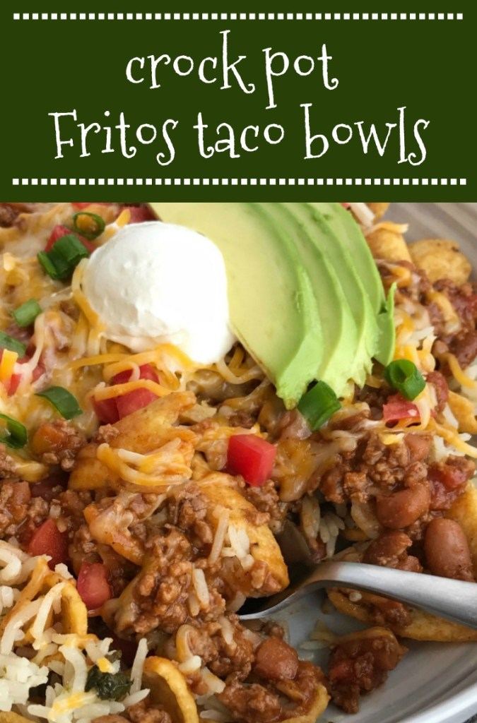 Crock Pot Fritos Taco Bowls | Beef Recipes | Taco Bowl | Slow Cooker Recipes | Crock Pot Fritos Taco Bowls are a family favorite! A beefy taco mixture simmers in the crock pot all day and then gets piled on top of Fritos, rice, and all your favorite taco toppings. This is a dinner that everyone will be begging for more of. #easydinnerrecipes #tacobowls #dinner #crockpotrecipes #slowcooker