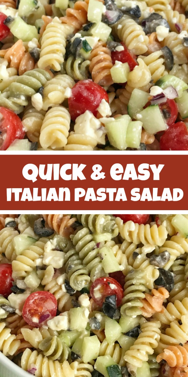Italian Pasta Salad | Pasta Salad | Easy Pasta Salad Recipes | Easy Italian pasta salad will be the star of all your summer picnics and BBQ's! Takes just minutes to make and can be eaten right away or refrigerated. Tender rotini pasta, cucumber, tomatoes, red onion, black olives, and feta cheese covered in Italian dressing. So quick, easy, and delicious! #sidedish #pastasalad #recipeoftheday #italianpastasalad