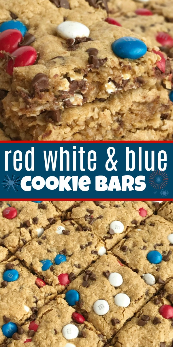 No Flour Red White & Blue Cookie Bars | 4th of July Recipe | Gluten Free Desserts | Celebrate Memorial Day and 4th of July with these fun and festive no flour red white and blue cookie bars. Cookie bars with no flour and loaded with peanut butter, oats, chocolate chips, and m&m's. Makes an entire cookie sheet so there is plenty to serve a crowd. #4thofjulyrecipes #holidayrecipes #glutenfree #redwhiteandblue