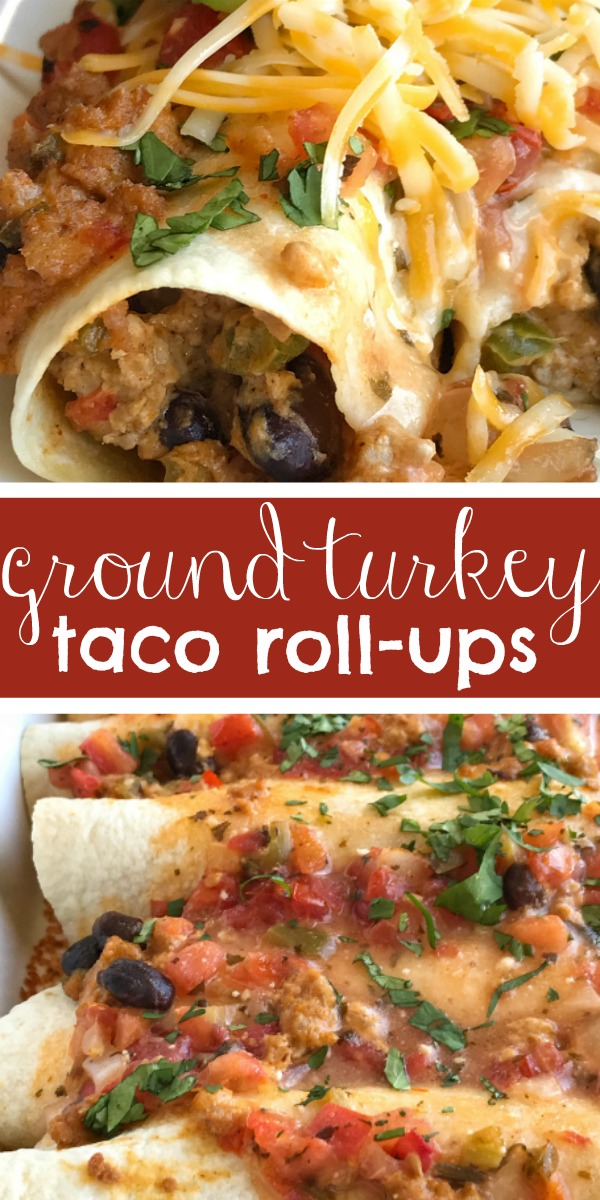Ground Turkey Taco Roll-Ups | Mexican Food | Dinner Recipe | Tacos | Taco roll ups are made with ground turkey, spices, and veggies for a fun & delicious twist to taco night! Taco seasoned ground turkey with cream cheese gets rolled up in a flour tortilla and bakes in the oven. Creamy, delicious and easy to make taco roll ups are a family favorite. #easydinnerrecipes #easyrecipe #dinner #mexicanfood #tacos