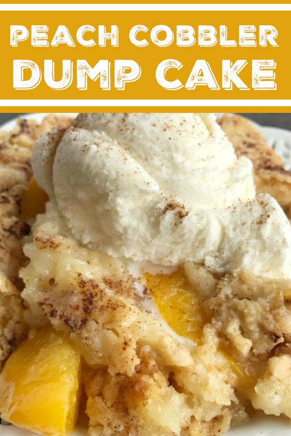 Peach Cobbler Dump Cake | Cobbler | Dump Cake | Peach Desserts | 4 Ingredients is all you need for this easy, and delicious dessert. Serve with vanilla ice cream for the best family dessert. | #easydessertrecipes #dessert #dumpcake #peaches
