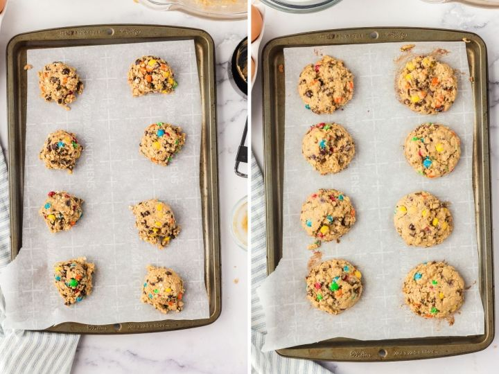 How to make monster cookies with step by step process pictures to show the directions.