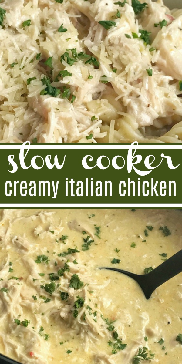 Slow Cooker Creamy Italian Chicken   Crock Pot Recipe   Chicken   Dinner Recipe   Slow cooker creamy Italian chicken is an easy and creamy delicious dinner. It's a dump & go slow cooker meal that takes just minutes to prepare and then it's ready when you are. The chicken is fall apart tender and it makes the most amazing creamy Italian sauce. Serve over pasta or rice for a delicious dinner. #easydinnerrecipe #chicken #slowcooker #crockpot