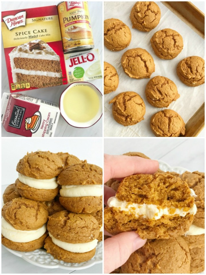Pumpkin Cheesecake Whoopie Pies are an easy 5 ingredient pumpkin recipe! Soft and fluffy pumpkin cookies with a whipped cheesecake pudding filling.