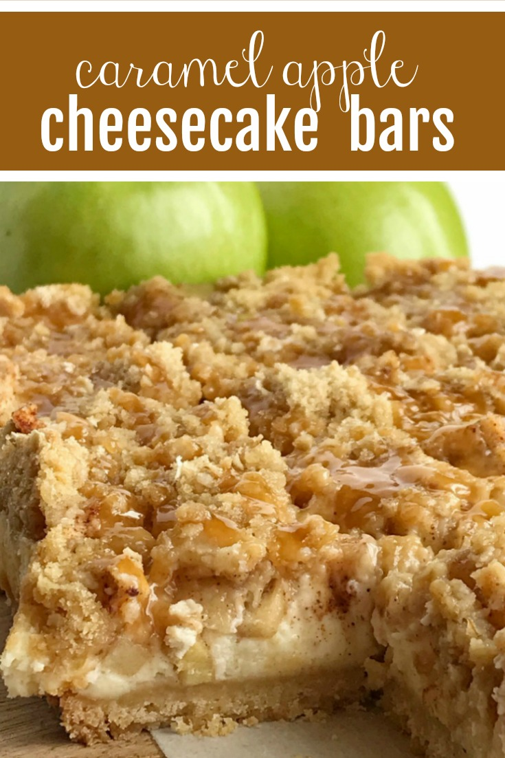 Caramel Apple Cheesecake Bars Together As Family