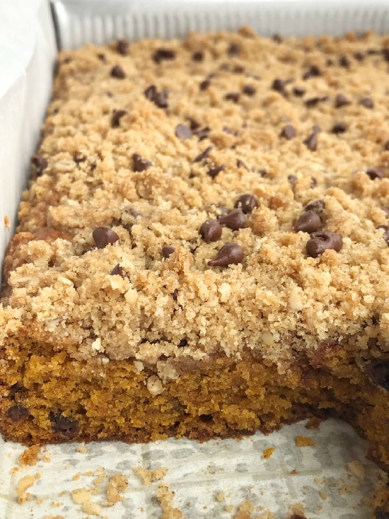 Chocolate Chip Streusel Pumpkin Cake | Pumpkin Cake Recipe | The best pumpkin cake studded with chocolate chips and topped with a crumbly, sweet streusel topping. This chocolate chip streusel pumpkin cake is a fun twist to traditional pumpkin cake and oh so good! #pumpkin #pumpkinspice #pumpkinrecipes #pumpkincake #dessert #recipeoftheday #cake #thanksgivingrecipe