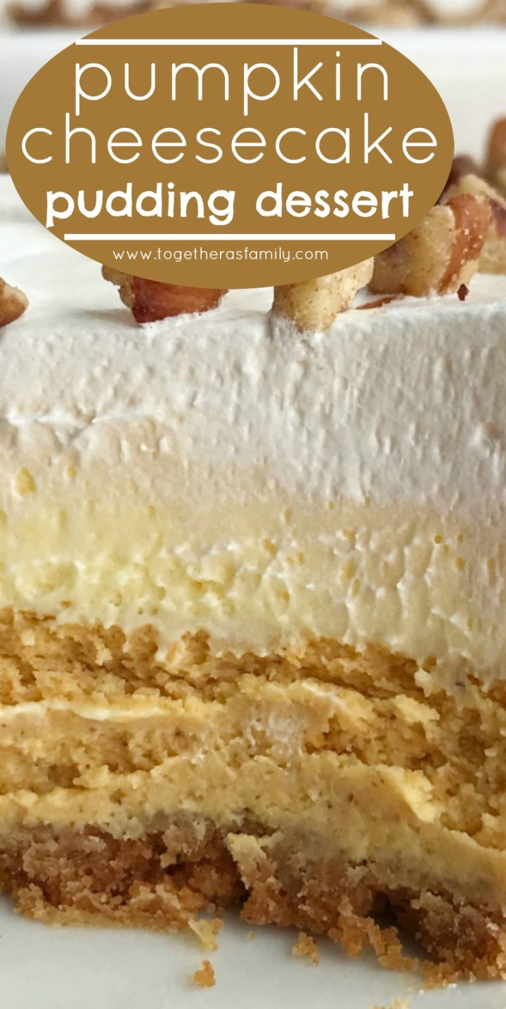 Pumpkin Cheesecake Layered Pudding Dessert | Pumpkin Dessert Recipe | Fall Baking | Pumpkin Recipes | Pumpkin cheesecake pudding dessert is a layered dessert made in a 9x13 baking dish. Cinnamon cracker crust, topped with a creamy pumpkin cheesecake, fluffy vanilla pudding, and Cool Whip. Garnish with pecans for the best pumpkin dessert this Fall. #pumpkin #pumpkinrecipes #cheesecake #dessertrecipe #fallbaking #recipeoftheday