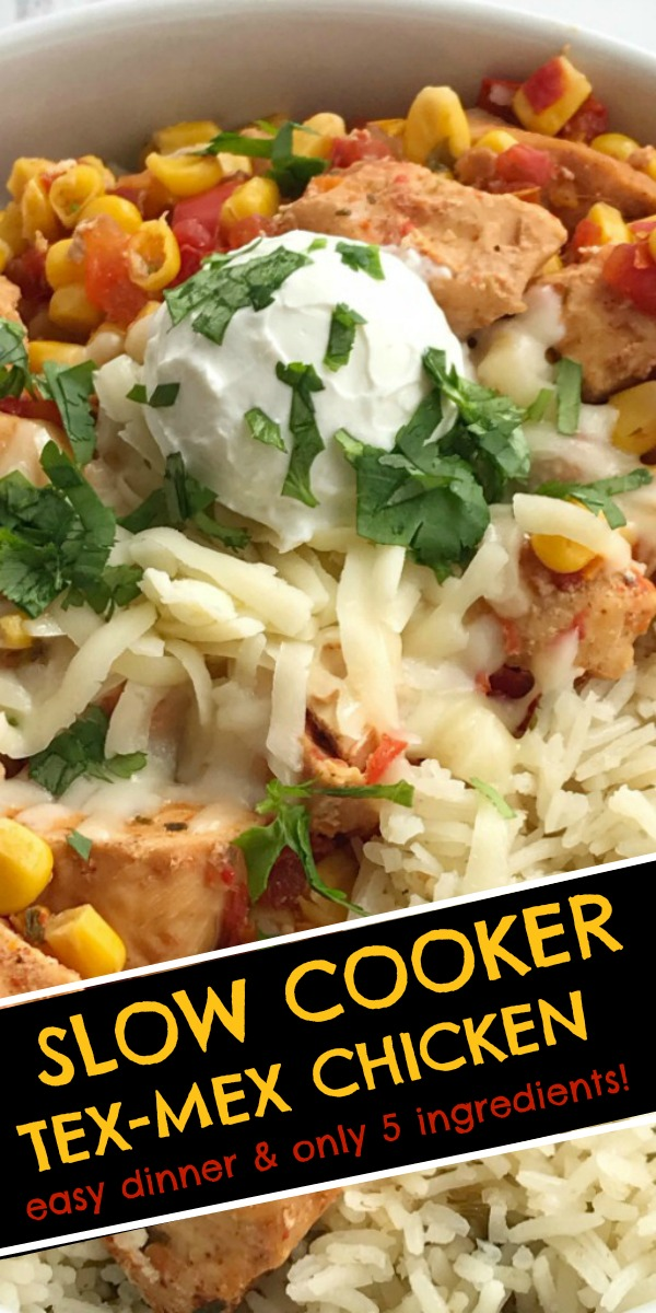 Slow Cooker Tex-Mex Chicken | Easy Crock Pot Recipe | Slow Cooker Recipes | Tex-Mex Chicken is made in the slow cooker with only 5 ingredients plus some seasonings. Set it and forget it dinner that is ready when you are and it's healthy & nutritious! #dinnerrecipes #chickenrecipe #slowcooker #easycrockpotrecipes #easyslowcookerrecipes #recipeoftheday