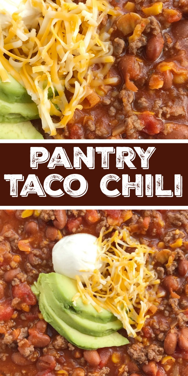 Easy Pantry Chili Recipe | Chili Recipe |Easy chili recipe is made with simple pantry ingredients that you probably have on hand. Ground beef and convenient canned items make for a thick & delicious easy chili recipe with taco seasonings! #chili #groundbeefrecipes #dinnerrecipe #recipeoftheday #tacos #tacochili