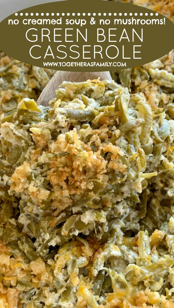 Green Bean Casserole Recipe   Green Bean Casserole without mushrooms & without canned soup   Green bean casserole recipe. Canned green beans, cheese, french fried onions, and a few seasonings is all you need for the best green bean casserole. This green bean casserole has no mushrooms and no creamed soups in it! #thanksgivingrecipe #greenbeancasserole #casserole #thanksgiving #recipeoftheday #greenbeancasserolerecipe