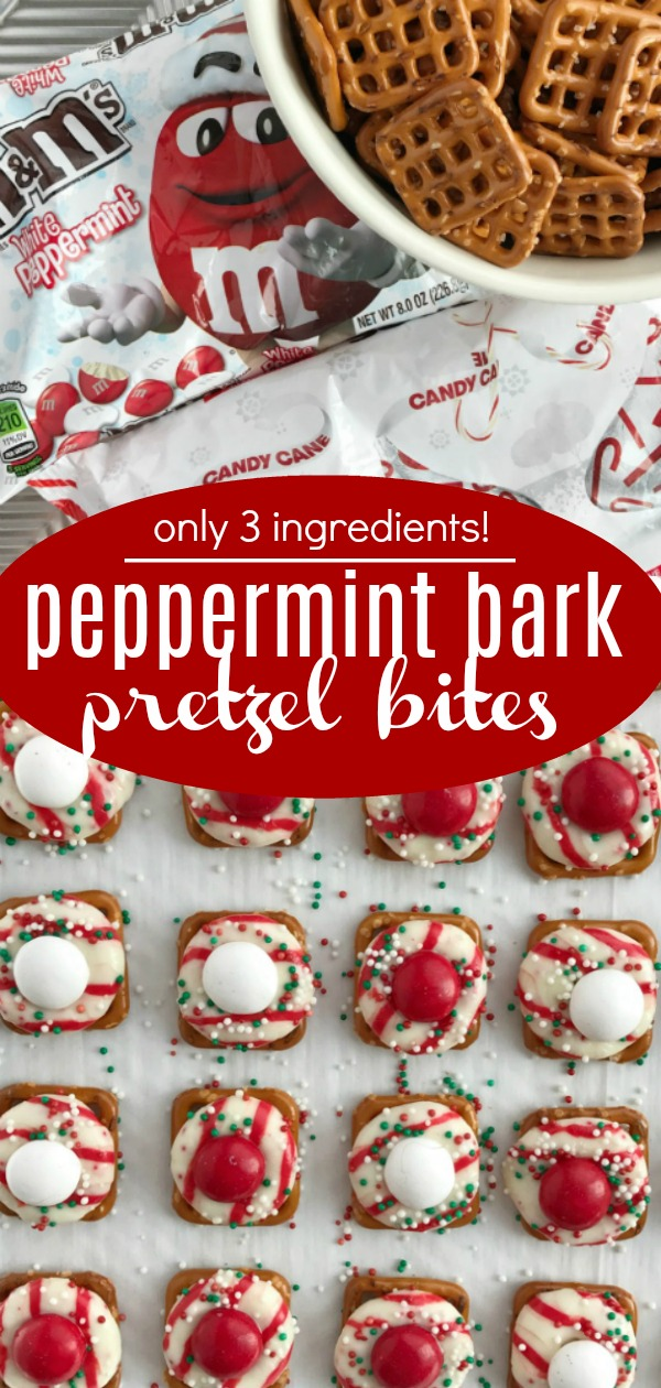 Peppermint Bark Pretzel Bites | Peppermint Bark Recipe | Christmas Recipe | Christmas Treats | Peppermint bark pretzel bites with a Candy Cane Hershey kiss, on top of a pretzel, and topped with a peppermint white chocolate m&m. So easy to make too! #christmasrecipe #peppermintbark #whitechocolate #recipeoftheday