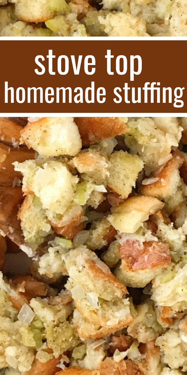 Stove Top Stuffing Recipe | Stuffing Recipe | Homemade Stuffing | Easy homemade stuffing made right on the stove top in just 30 minutes! Crusty bread chunks dried in the oven and then cooked with butter, seasonings, celery, and onion in a pot on the stove. This stove top stuffing will be a family favorite Thanksgiving recipe. #thanksgivingrecipe #stuffing #homemadestuffing #sidedish #recipeoftheday