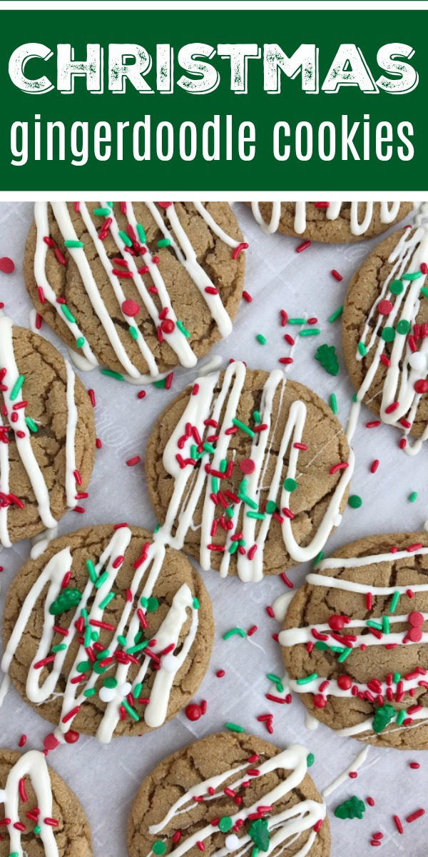 Christmas Gingerdoodle Cookies   Gingersnap Cookies   Gingerbread   Christmas Cookies   Christmas gingerdoodle cookies are a mix of a snickerdoodle cookie and a gingersnap cookies! No crispy cookies with this recipe. Soft, chewy gingersnap cookie that's rolled in sugar. Perfectly spiced that even kids will eat these. Decorate with a drizzle of white chocolate and Christmas sprinkles for the best Christmas cookies. #christmasrecipes #holidayrecipes #gingersnaps #dessert #recipeoftheday