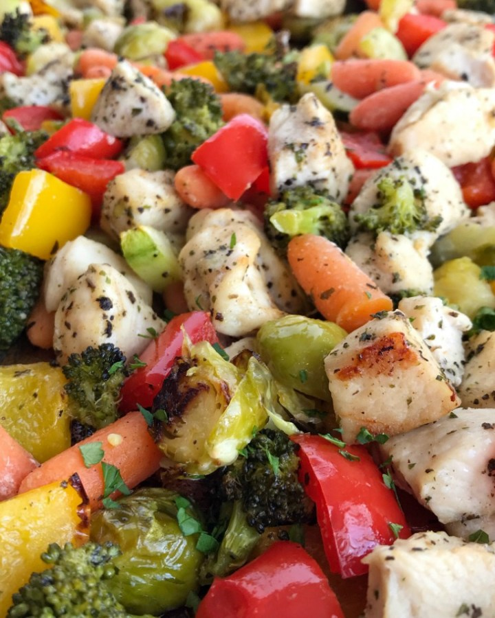 Sheet Pan Baked Chicken and Vegetables | Baked Chicken Recipe | Sheet Pan Recipe | One Pan Recipes | Dinner | Baked chicken and vegetables roast in the oven on one sheet pan! Healthy, full of flavor, and the leftovers are perfect for lunch the next day. Try this healthy dinner recipe that's full of vegetables and boneless, skinless chicken breasts, and it can be easily adapted to what you already have in your kitchen. #chickenrecipe #healthyrecipes #recipeoftheday #glutenfree