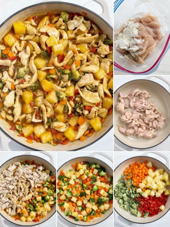 Picture collage of how to make pineapple teriyaki chicken stir-fry with step by step pictures.