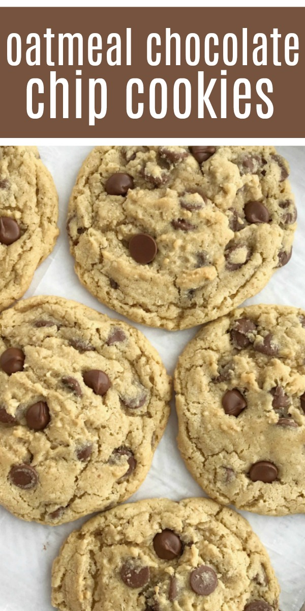 Giant Oatmeal Chocolate Chip Cookies | Oatmeal Cookies | Chocolate Chip Cookies | The best oatmeal chocolate chip cookies! Soft, chewy, thick, and giant sized. Cause who doesn't need a giant cookie in their life?! Simple ingredients for the best and heartiest cookie recipe. #cookierecipe #easydessertrecipe #oatmealchocolatechipcookies #recipeoftheday #cookies