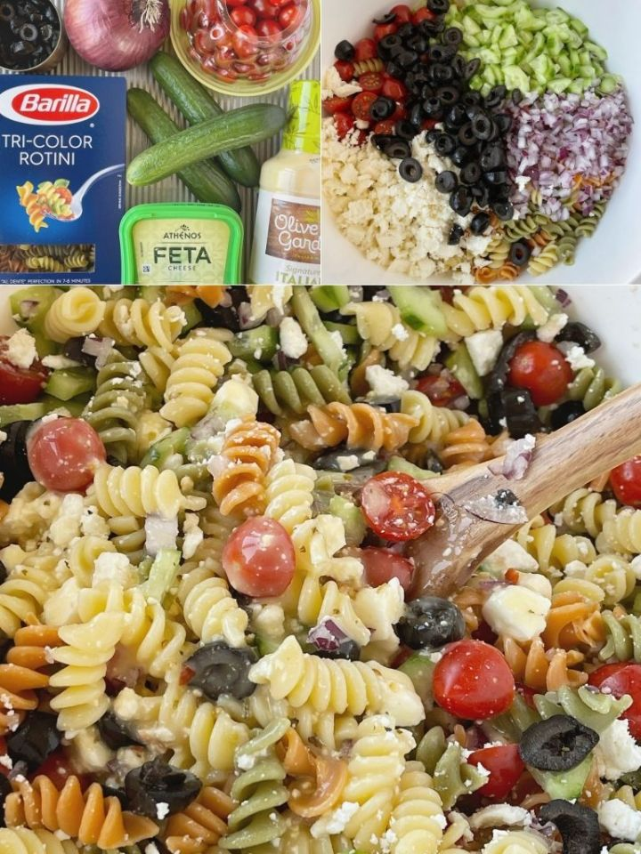 How to make easy Italian pasta salad recipe with step-by-step picture instructions.