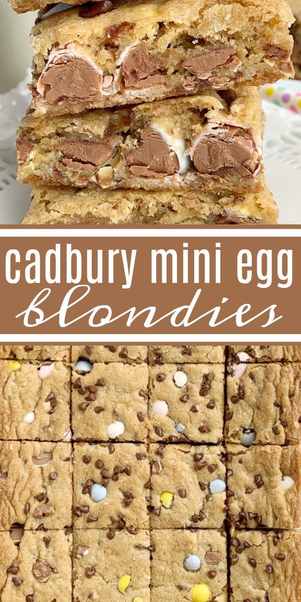 Cadbury Mini Egg Blondies | Blondies | Blondie Recipes | Cadbury Mini Eggs | Cadbury Mini Egg Blondies are soft, chewy, buttery, and loaded with everyone's favorite Cadbury egg chocolate candies! A perfect Easter dessert recipe. #easterrecipes #cadburyminieggs #recipeoftheday #blodnies #blondierecipes #dessert #dessertrecipes