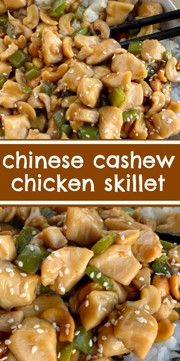 Chinese Cashew Chicken   Chinese Food   Chicken Recipe   Dinner Recipes   Chinese Cashew Chicken cooks in one pot on the stove top and can be on the table in just 30 minutes! Chunks of chicken and green pepper simmer in a easy homemade Chinese sauce. Serve over rice for a family approved dinner. #chickenrecipe #chicken #dinner #dinnerideas #recipeoftheday