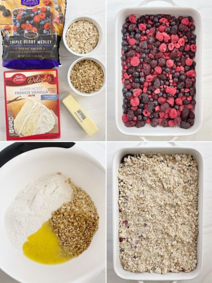 Four pictures that show, step by step, how to make a berry crisp dump cake.