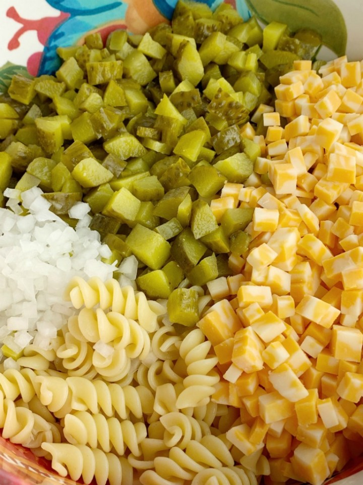 Ingredients for dill pickle pasta salad