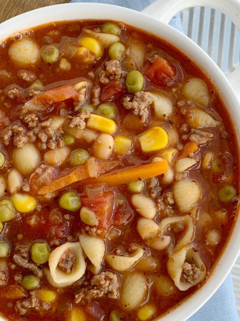 Easy Minestrone Soup in a serving bowl