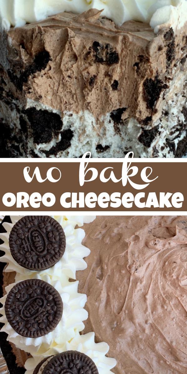 Chocolate Oreo Cheesecake Pie | Oreo Cheesecake | No Bake Dessert | Chocolate Oreo Cheesecake Pie is so easy to make thanks to a prepared Oreo crust, an easy no bake cheesecake filling in chocolate and vanilla cream, and loaded with chocolate Oreo cookies! #nobake #dessertrecipe #oreorecipes #oreocheesecake #cheesecake #recipeoftheday #pie