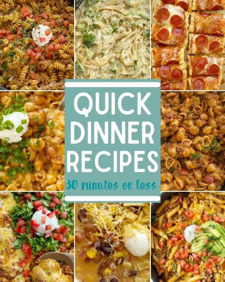 Quick Dinner Recipes - A collection of dinner recipes that are fast and quick recipes to make in 30 minutes or less.